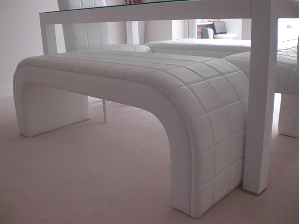 white leather top sewn quilted bespoke dining seating