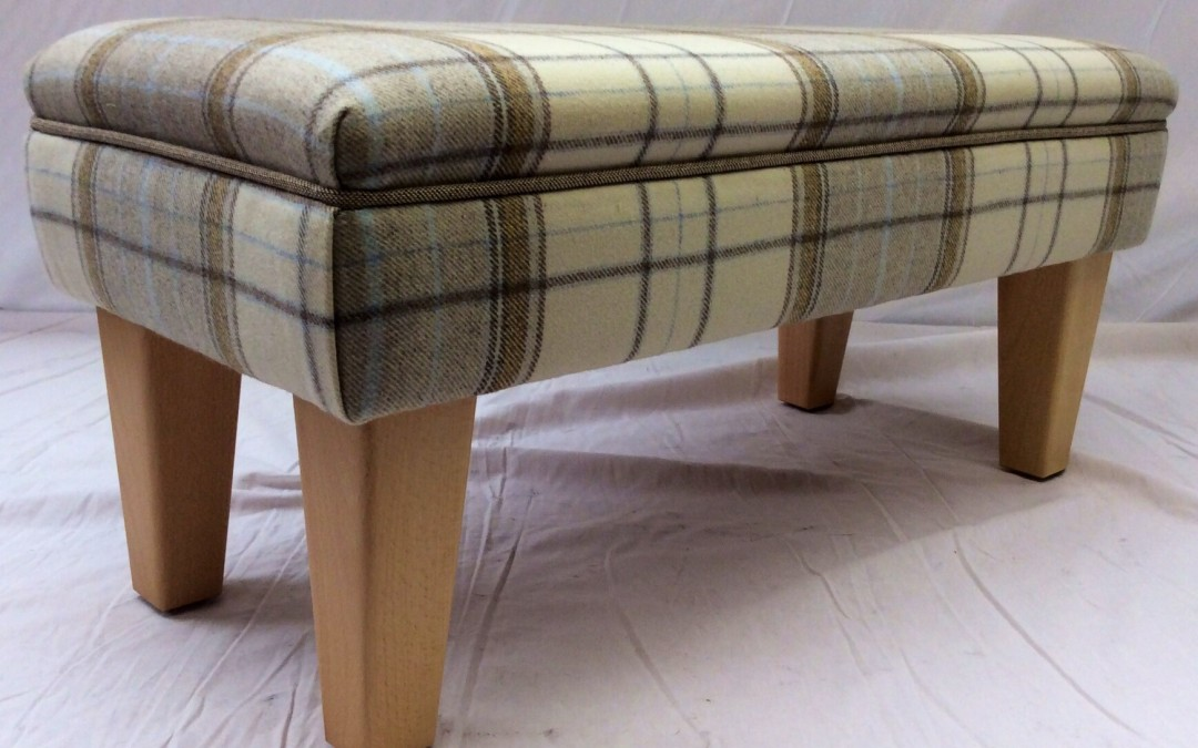 A bespoke made to size Footstool in Warwick fabrics Wool