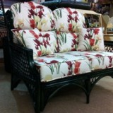 Upholstery of cane conservatory sofa