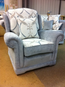 Ascot Chair Duck egg blue & white Christina Marrone Fabric Made by Ralvern Ltd