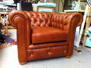 Leather tan chesterfield chair Reupholstered By Ralvern Ltd