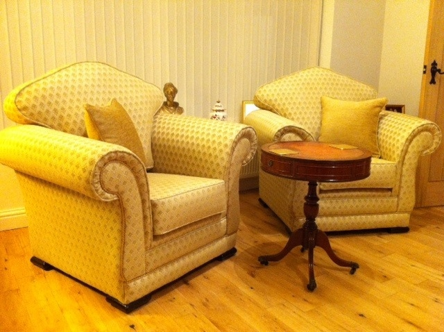 Mayfair Chairs covered in a Jim Dickens Fabric