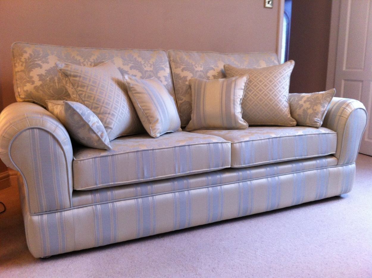 Ross Fabrics Wedgewood Demask designer sofa by Ralvern ltd