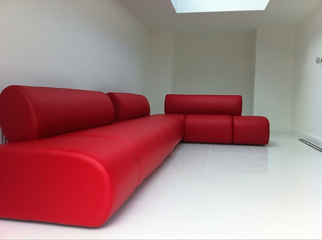 Bespoke Red Leather Large Corner sofa by Ralvern