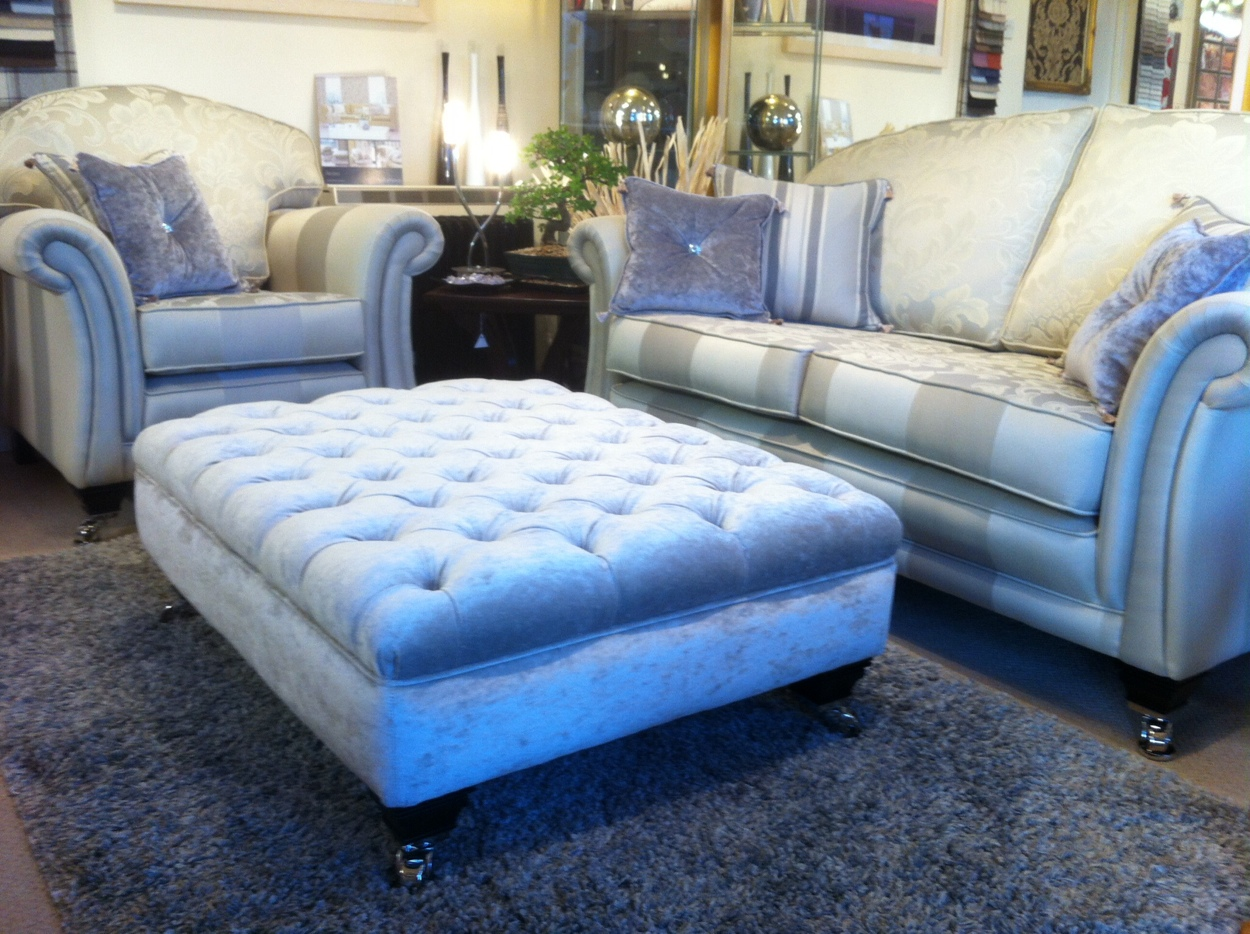 Paris sofa and arm chair with a medium deep buttoned lifestyle stool