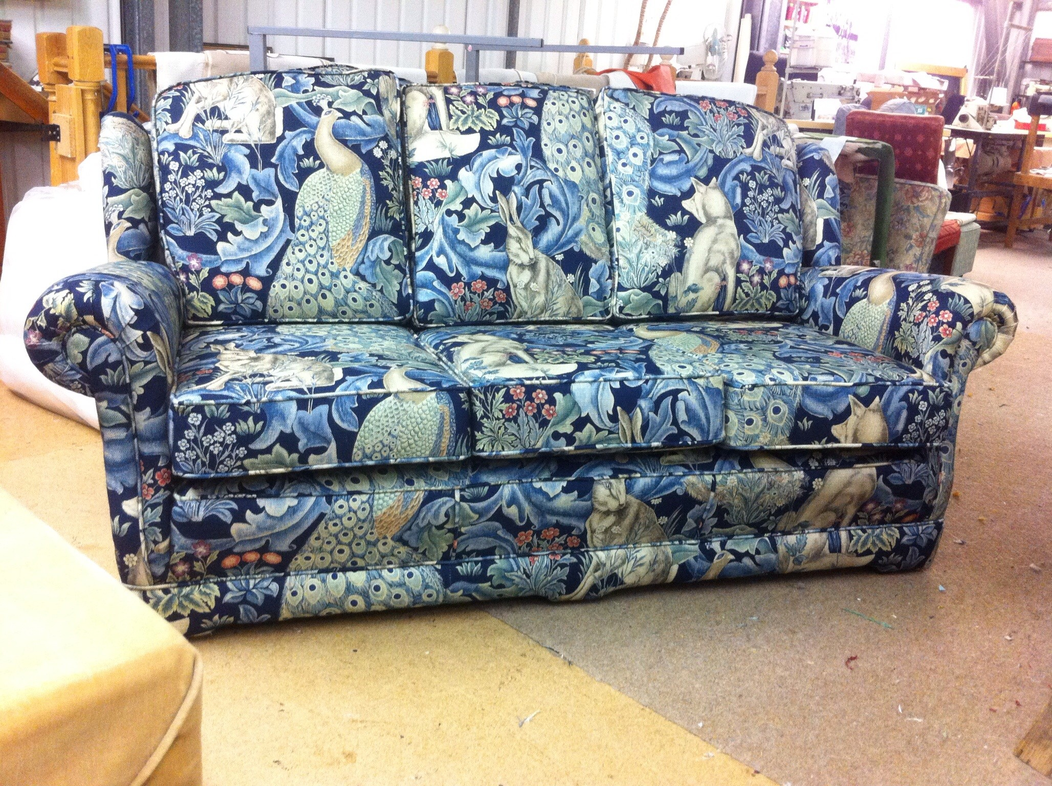 William Morris fabric by Ralvern Master Upholsterers in Cannock Staffordshire Ws11 7xn 01543 505539