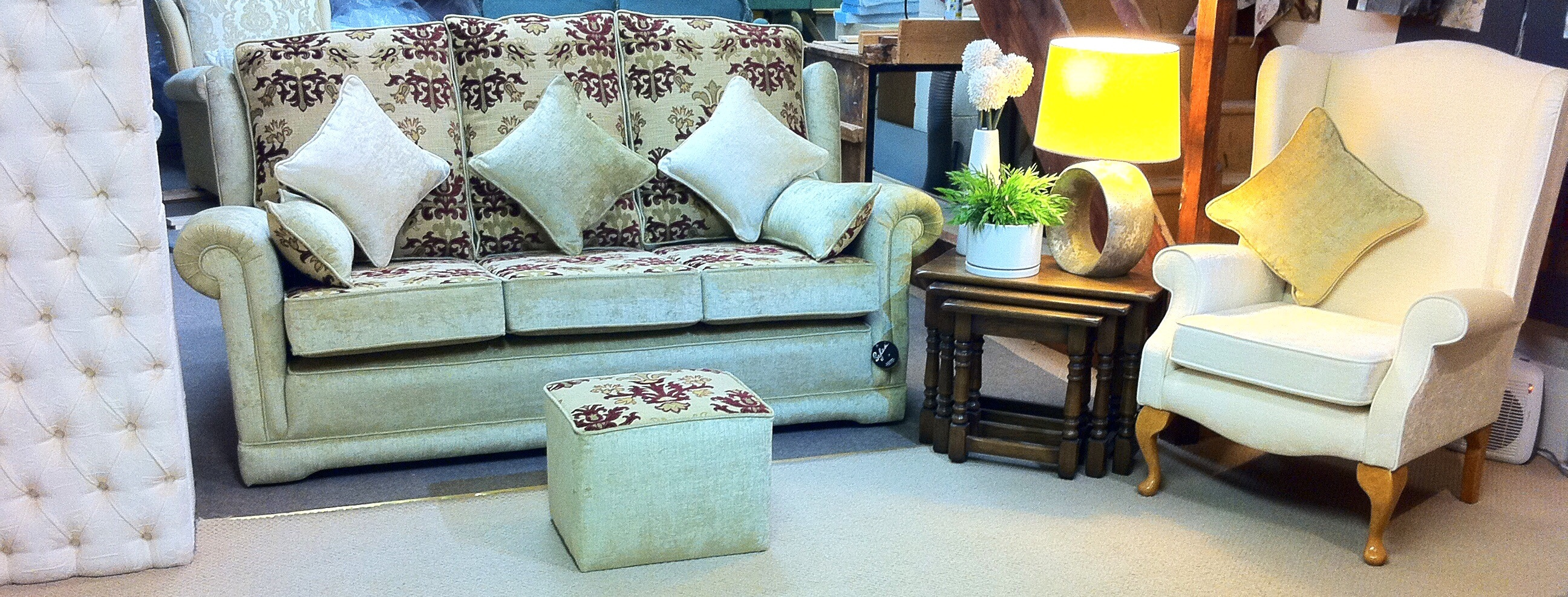 The Ascot Design Three Seater settee with An Occasional wing Chair